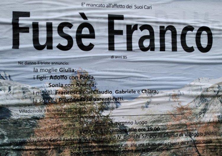 Villadossola: è morto Franco Fusè