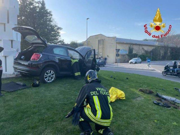 Induno Olona (VA) , incidente alla rotatoria