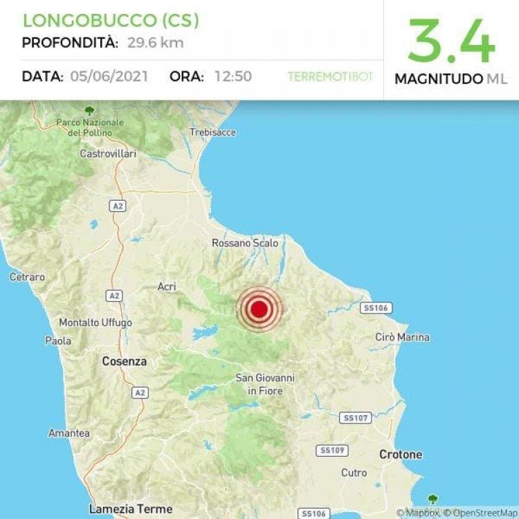 Longobucco, forte scossa di terremoto