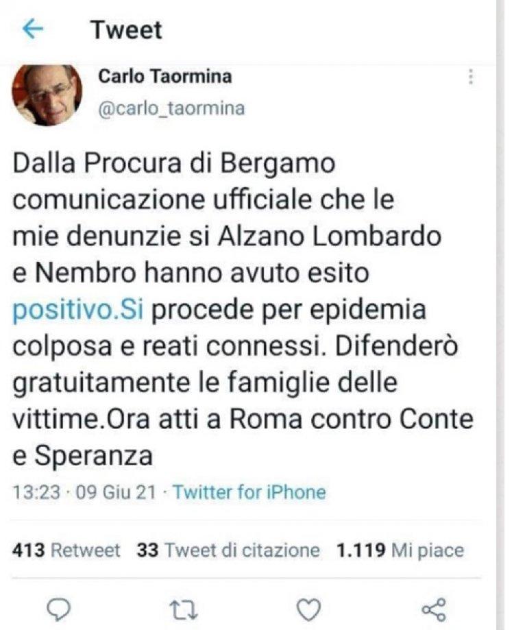 Avv. Taormina Procura Bergamo accolte denunce contro Conte e Speranza
